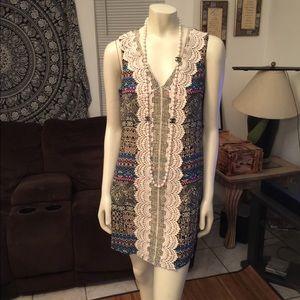 As U Wish Mini Aztec Print & Center Lace Dress S